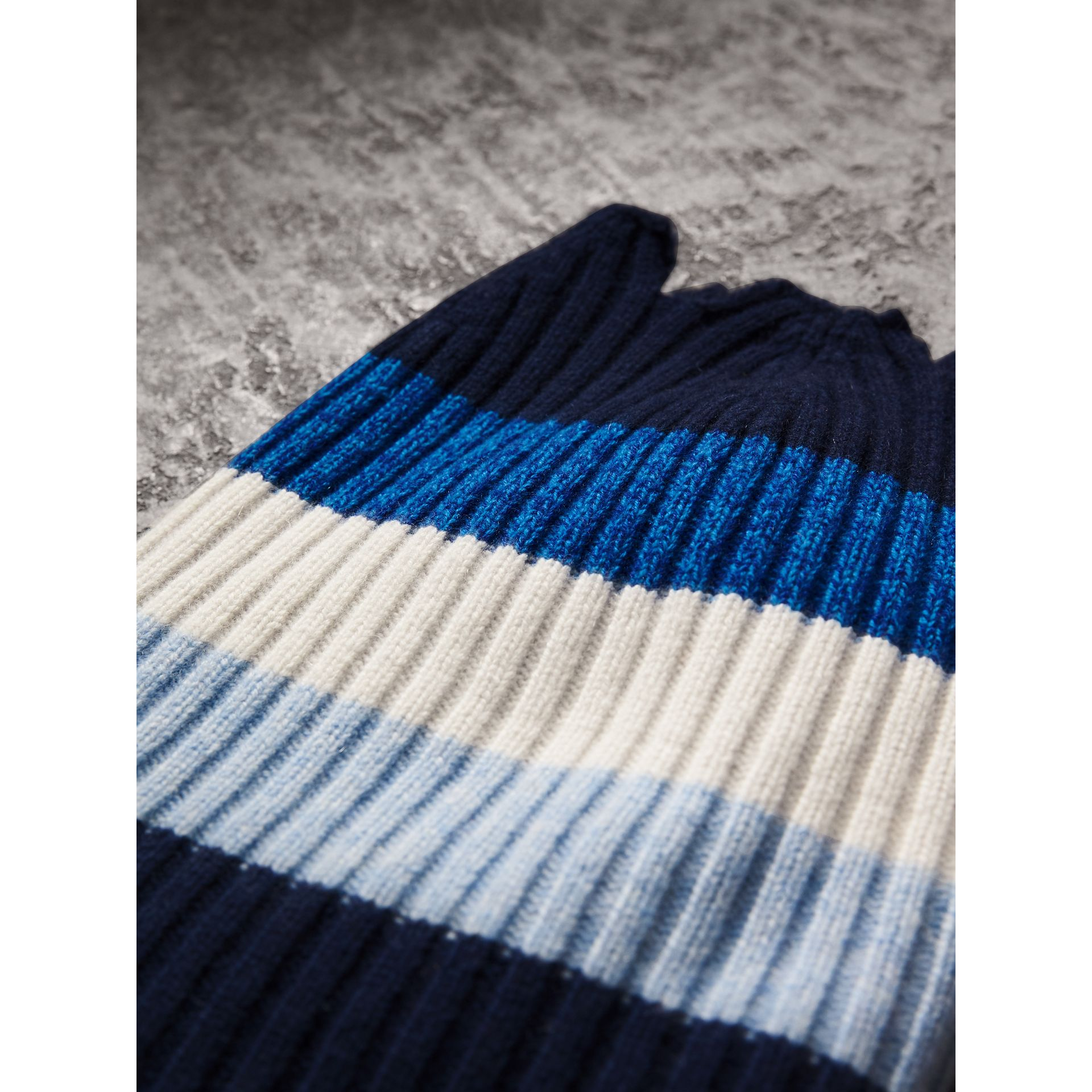 Striped Cashmere Open-top Beanie in Sky Blue | Burberry Singapore - gallery image 2