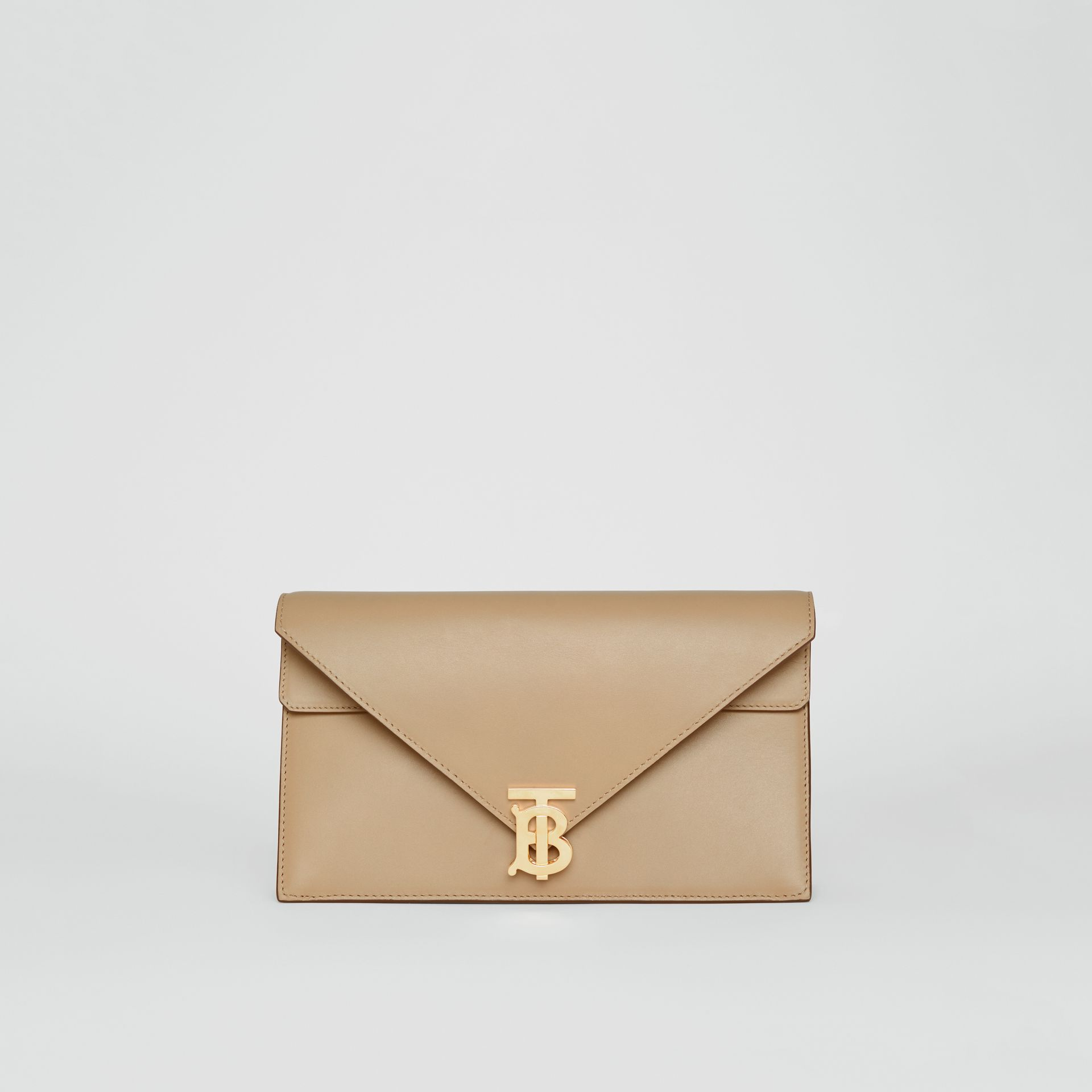 Small Leather TB Envelope Clutch in Honey - Women | Burberry - gallery image 0
