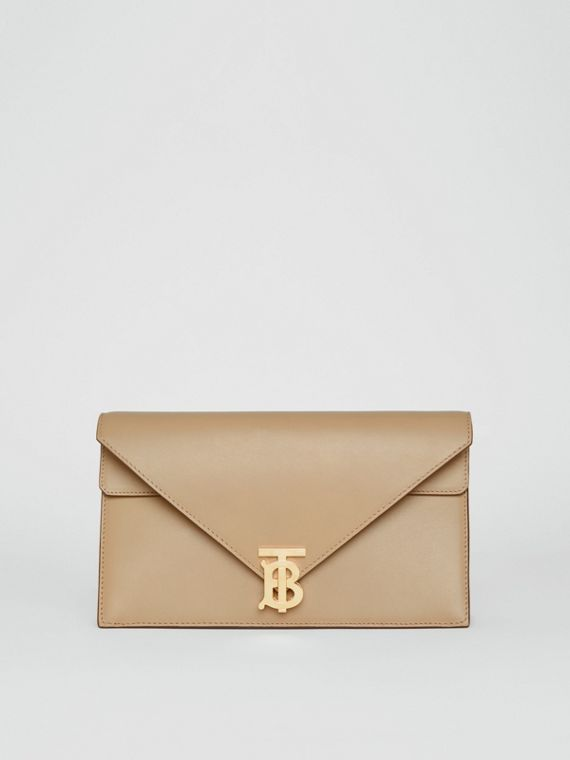 Small Leather TB Envelope Clutch in Honey