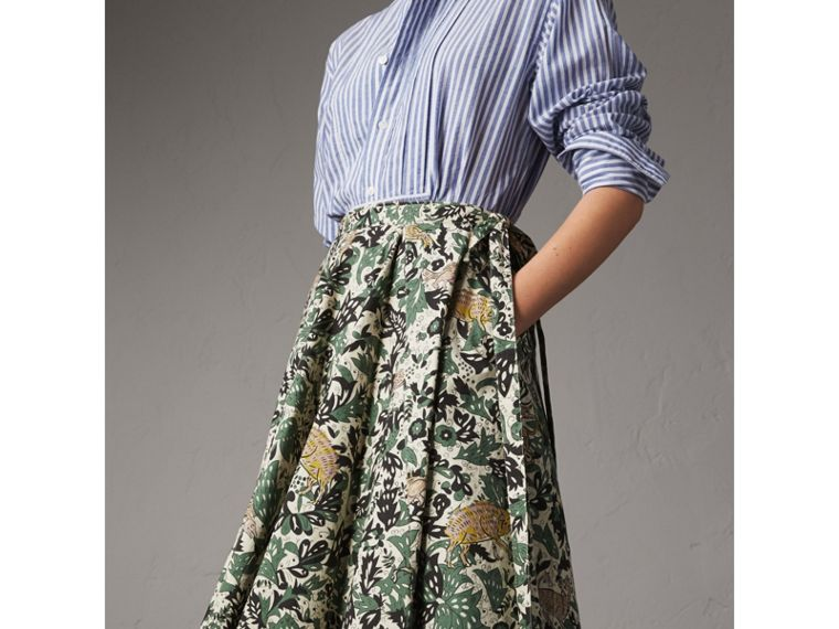 Beasts Print Cotton Wrap Skirt - Women | Burberry - cell image 4
