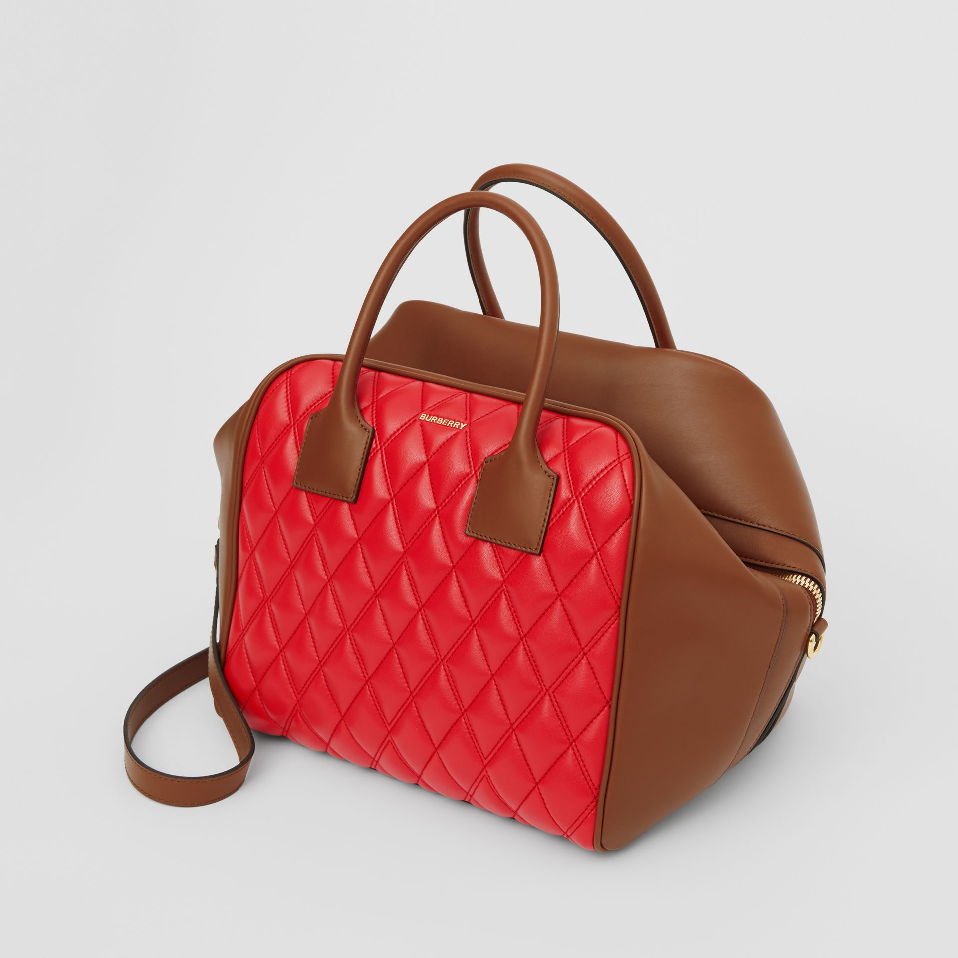 Medium Quilted Lambskin Cube Bag in Bright Red - Women | Burberry United Kingdom - gallery image 2
