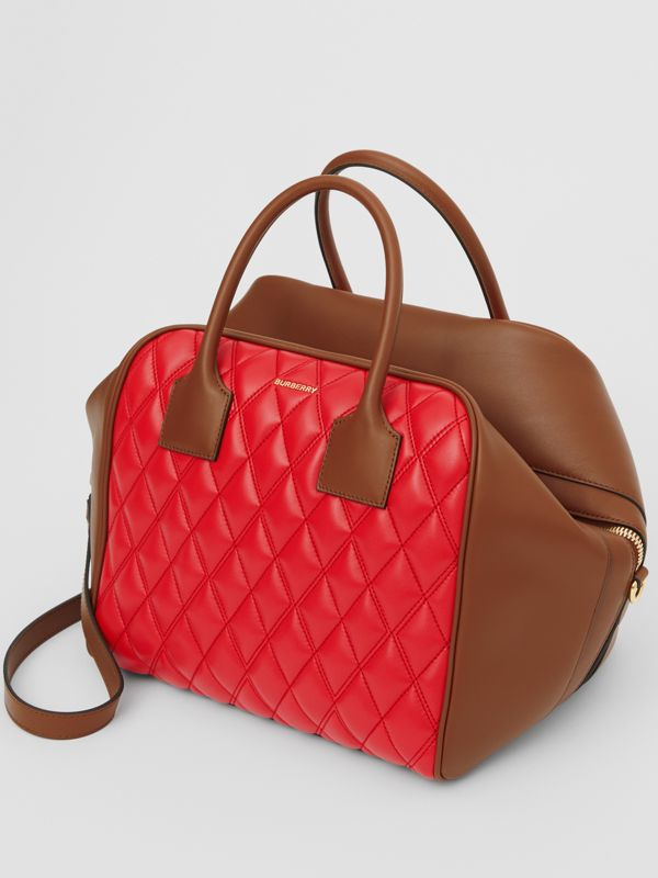 Medium Quilted Lambskin Cube Bag in Bright Red - Women | Burberry United Kingdom - cell image 2