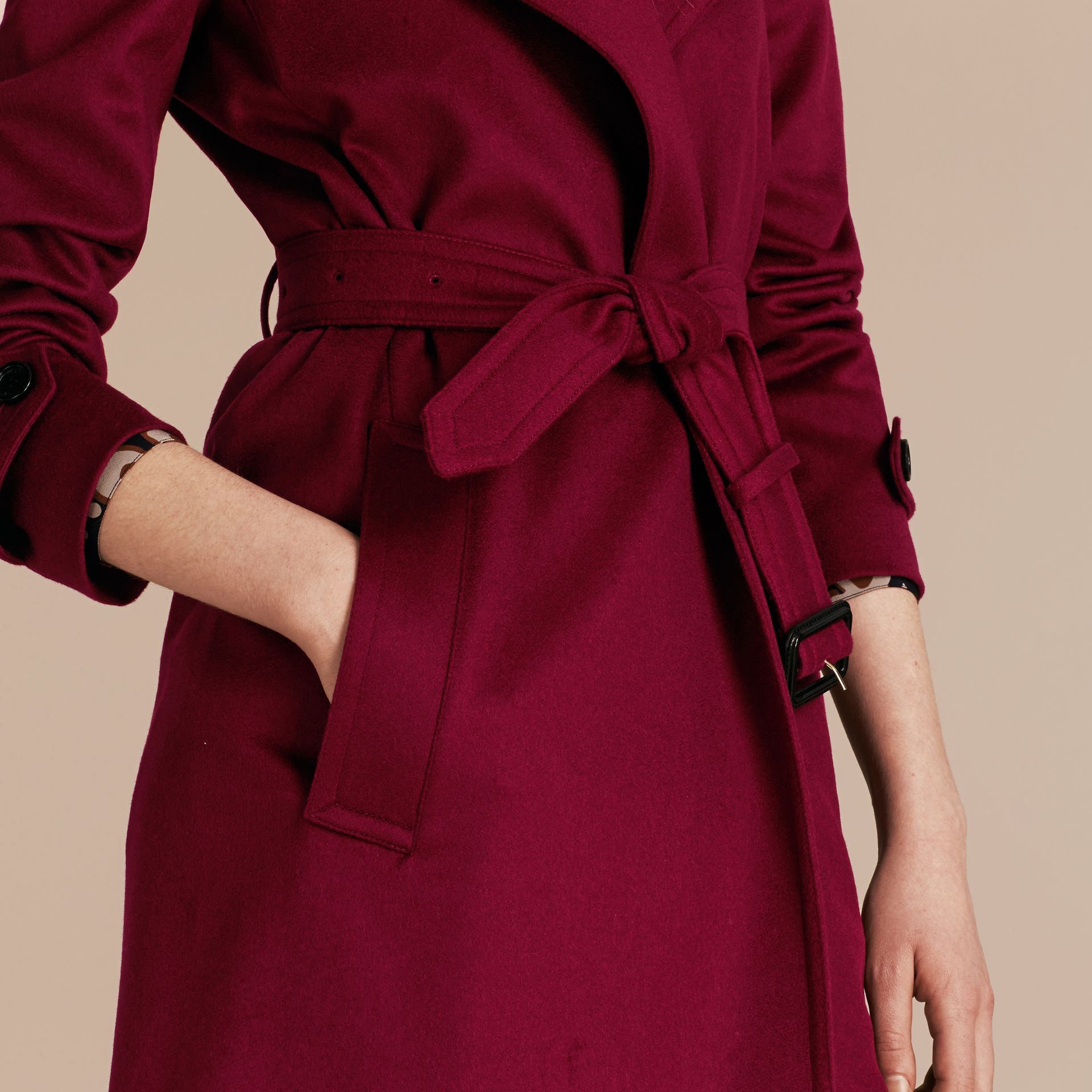 Cherry pink Cashmere Wrap Trench Coat Cherry Pink - gallery image 6