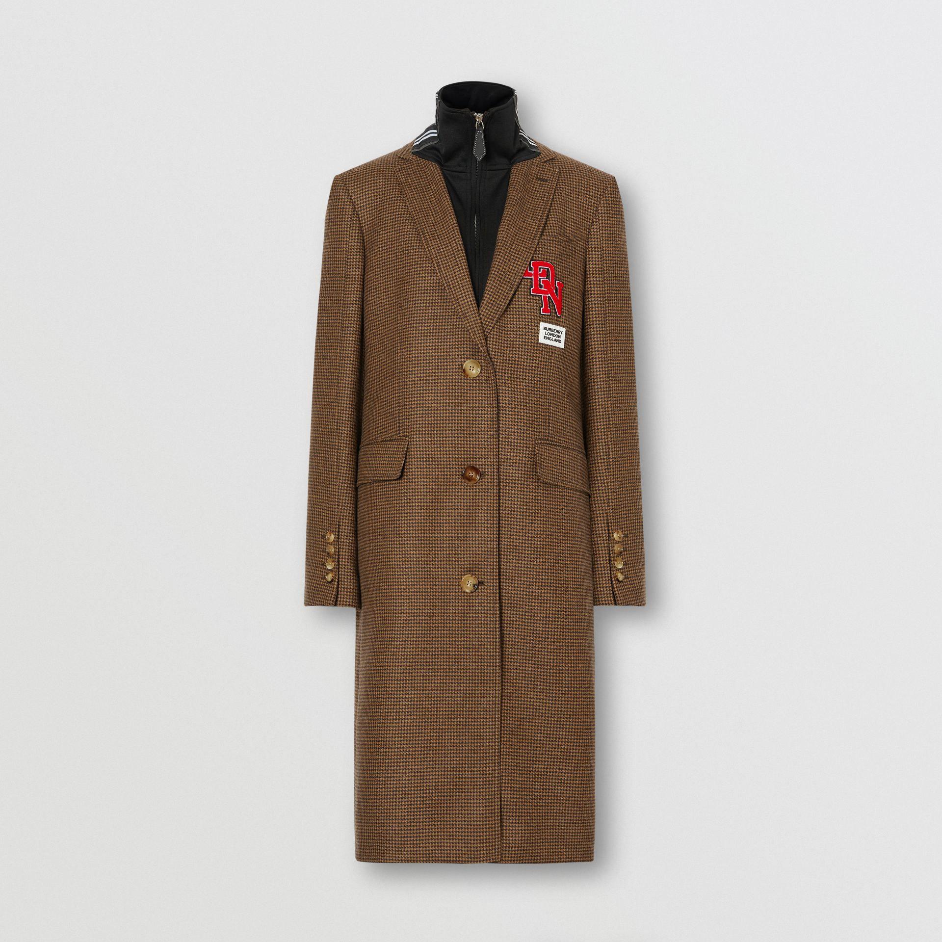 Track Top Detail Houndstooth Check Tailored Coat in Brown - Women   Burberry Hong Kong S.A.R - gallery image 3