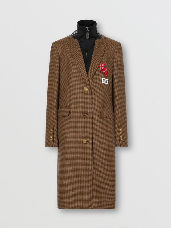 Track Top Detail Houndstooth Check Tailored Coat in Brown - Women   Burberry Hong Kong S.A.R - cell image 3
