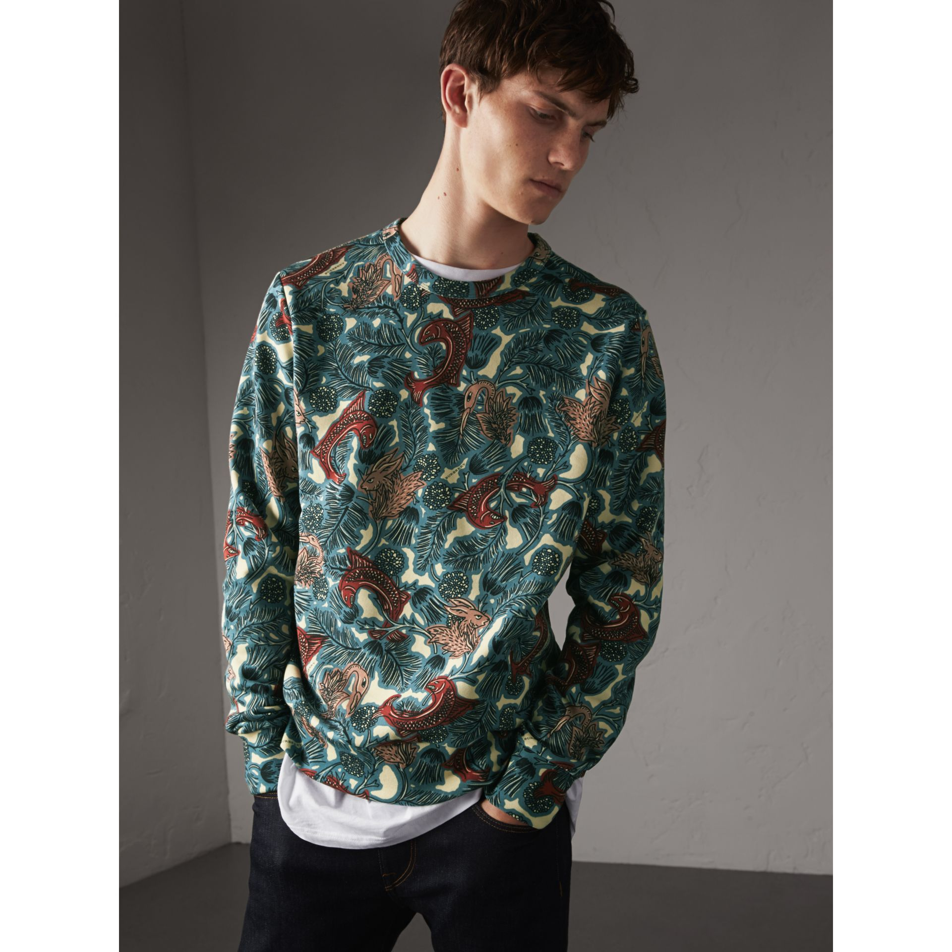 Beasts Print Cotton Sweatshirt in Mineral Blue - Men | Burberry - gallery image 1