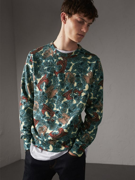Beasts Print Cotton Sweatshirt in Mineral Blue - Men | Burberry