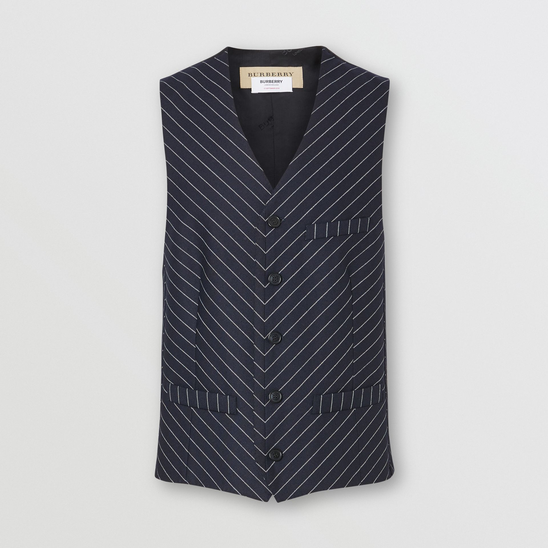 Pinstriped Wool Waistcoat in Dark Navy/white | Burberry Australia - gallery image 3