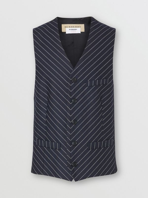 Pinstriped Wool Waistcoat in Dark Navy/white | Burberry Australia - cell image 3