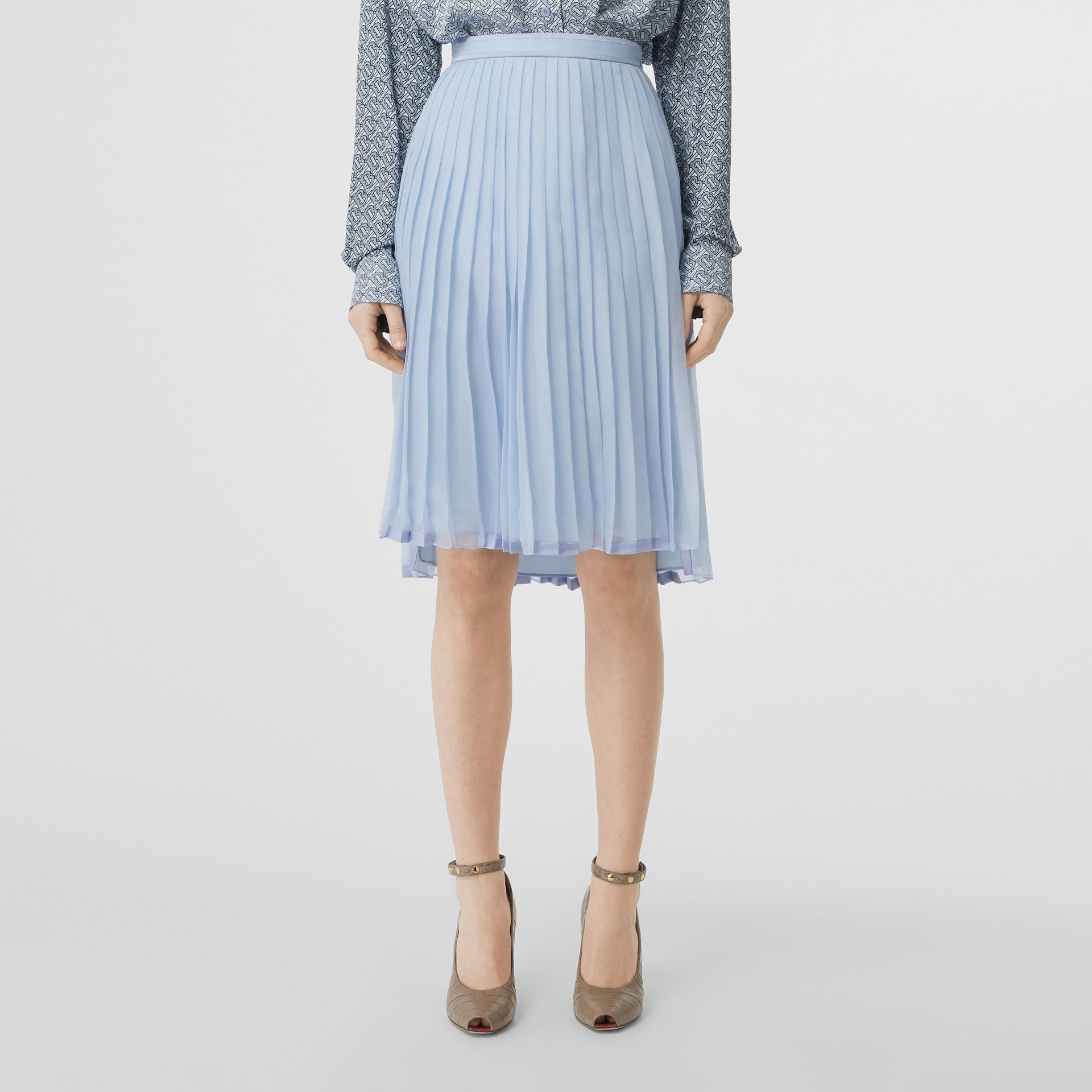 Contrast Trim Pleated Skirt in Pale Blue - Women | Burberry - gallery image 4