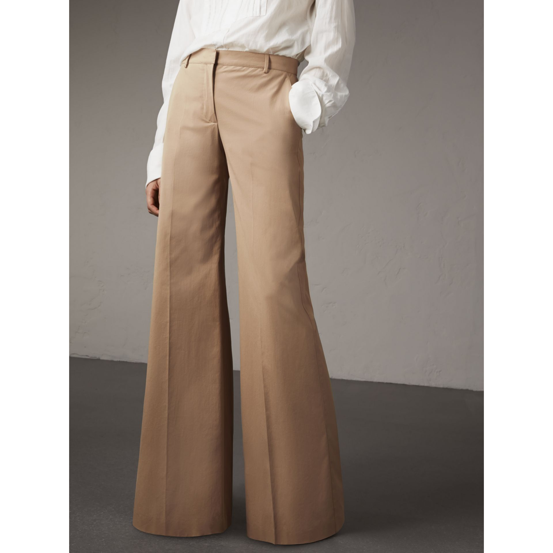 Cotton Twill Wide-leg Trousers in Camel - Women | Burberry - gallery image 5