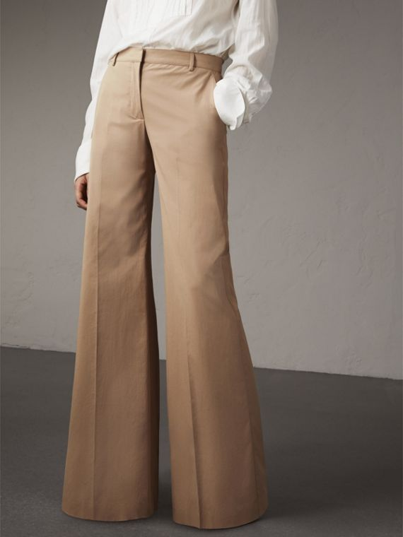 Cotton Twill Wide-leg Trousers - Women | Burberry Australia