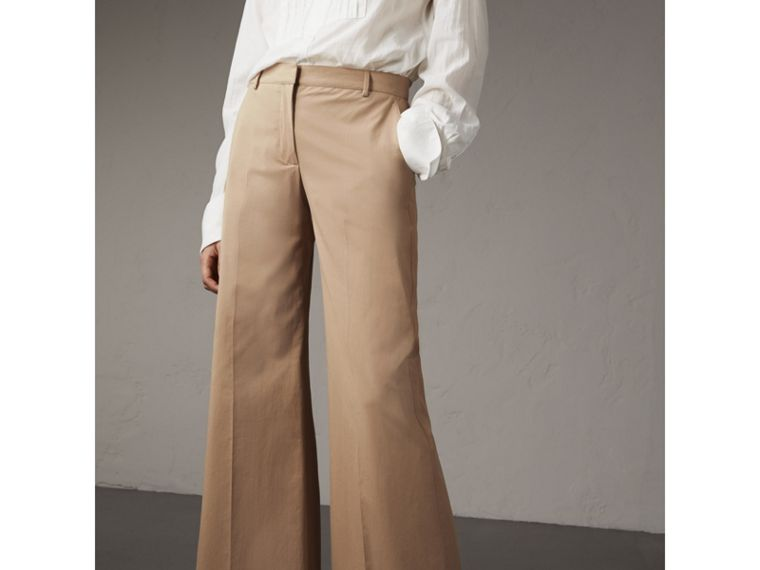 Cotton Twill Wide-leg Trousers in Camel - Women | Burberry - cell image 4