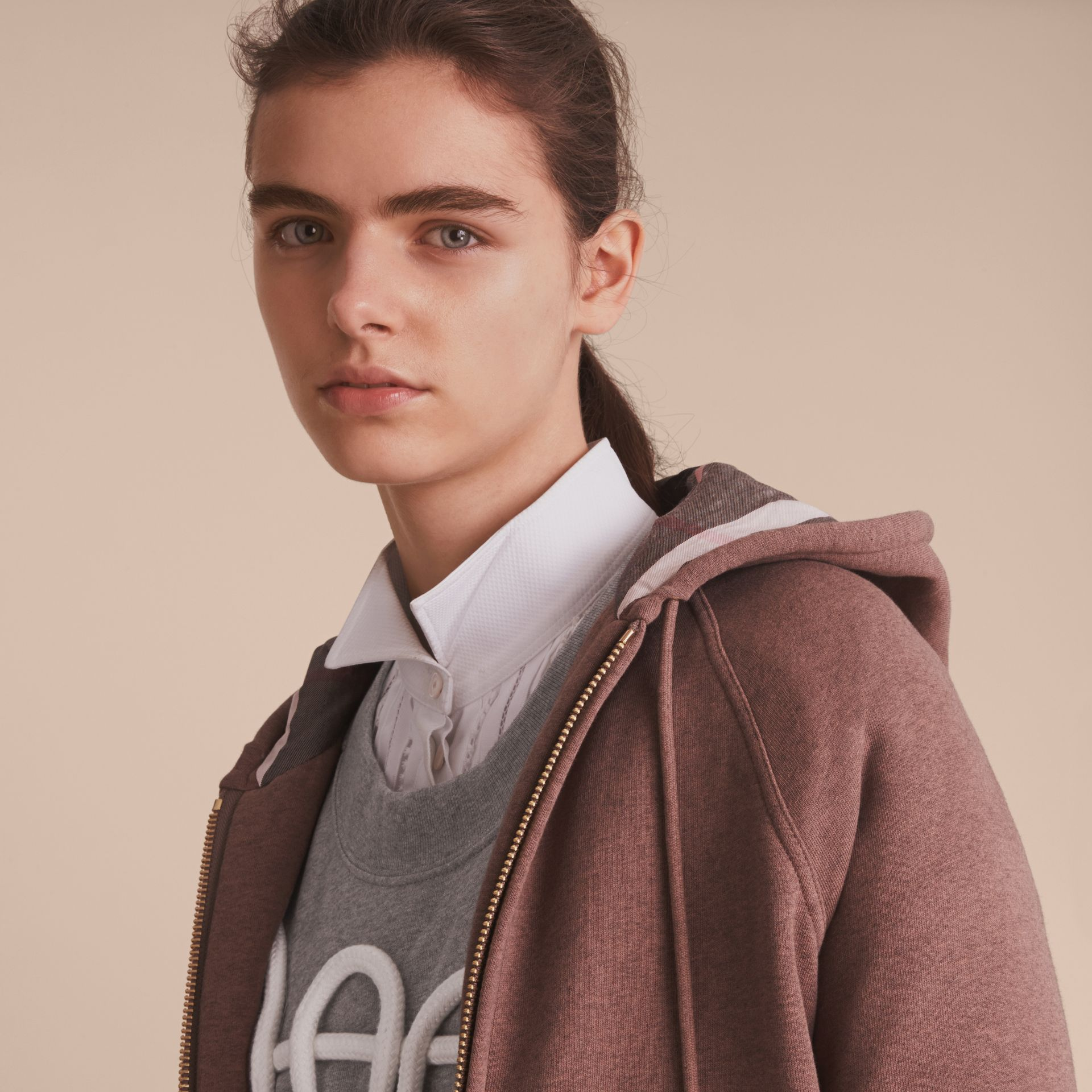 Hooded Cotton Blend Top in Antique Rose - gallery image 5