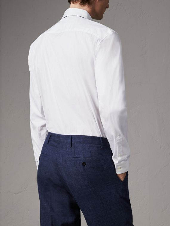 Modern Fit Stretch Cotton Shirt in White - Men | Burberry Australia - cell image 2