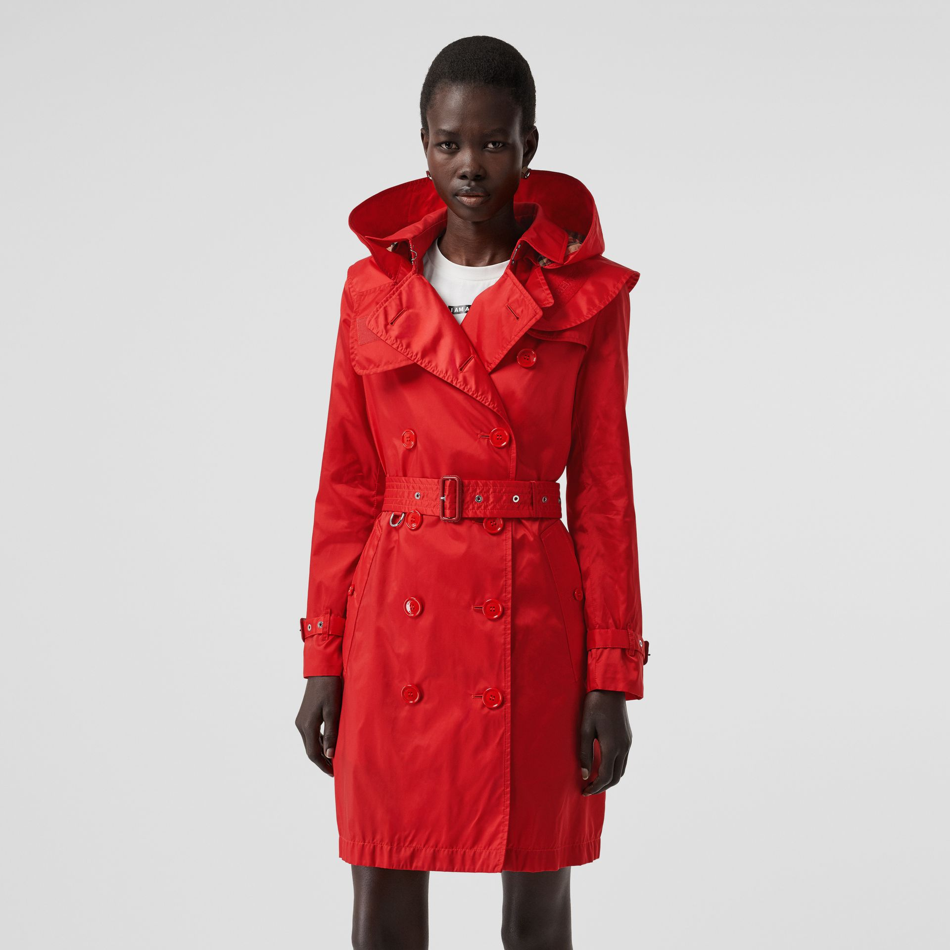 Detachable Hood ECONYL® Trench Coat in Bright Red - Women | Burberry United Kingdom - gallery image 5