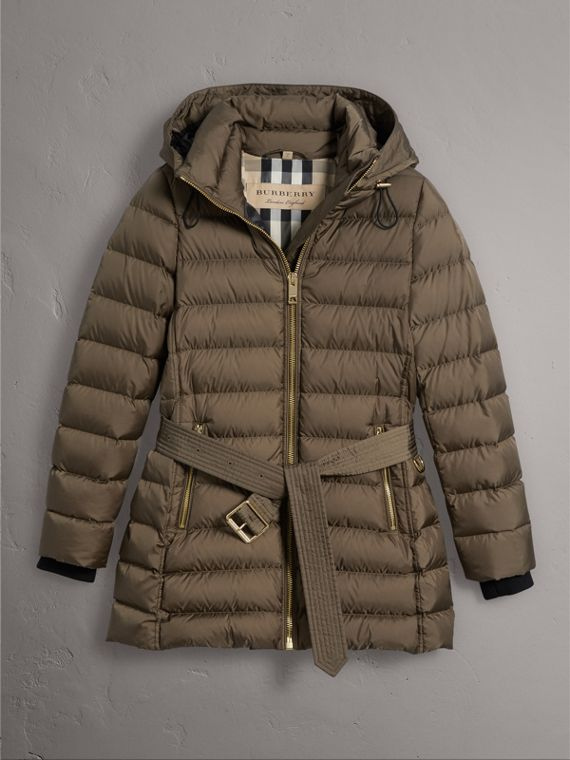 Hooded Down-filled Puffer Jacket in Mink Grey - Women | Burberry - cell image 3