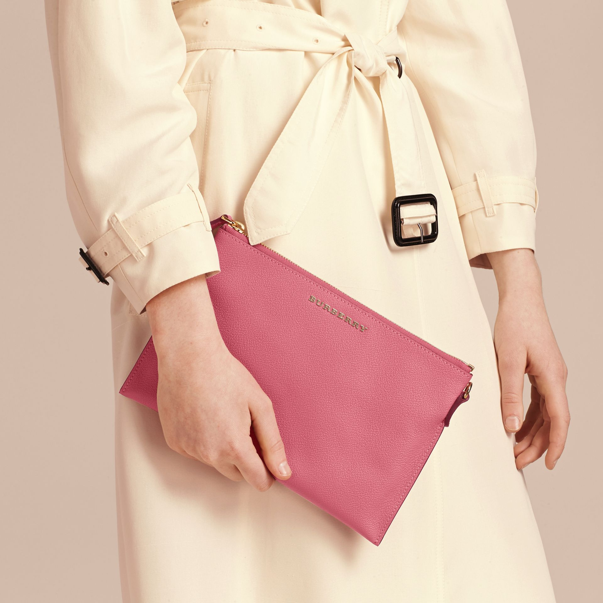 Leather Clutch Bag with Check Lining Pink Azalea - gallery image 4