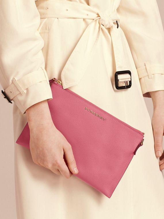 Leather Clutch Bag with Check Lining in Pink Azalea - cell image 3