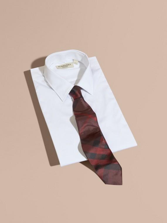 Rosso violetto intenso Cravatta dal taglio moderno in seta con motivo check Rosso Violetto Intenso - cell image 3