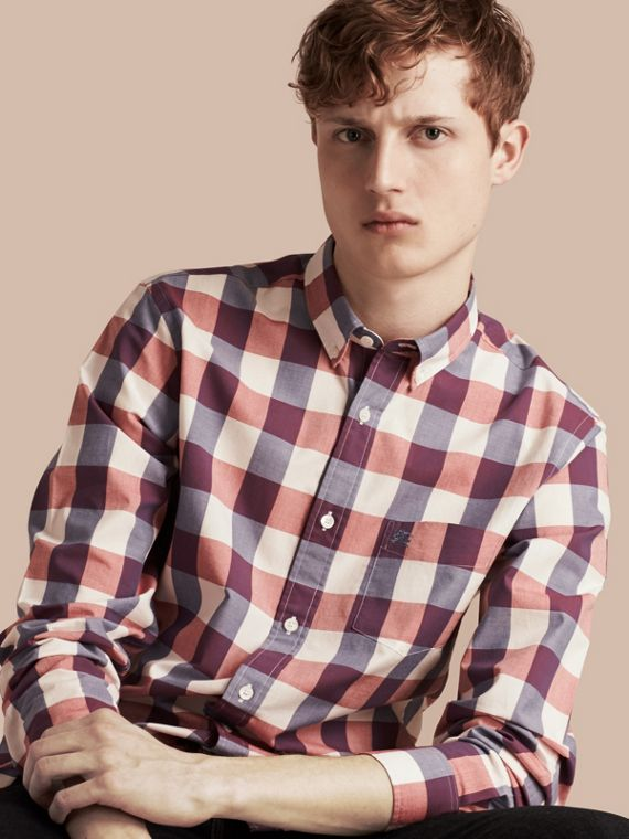 Button-down Collar Gingham Cotton Shirt Light Copper Pink