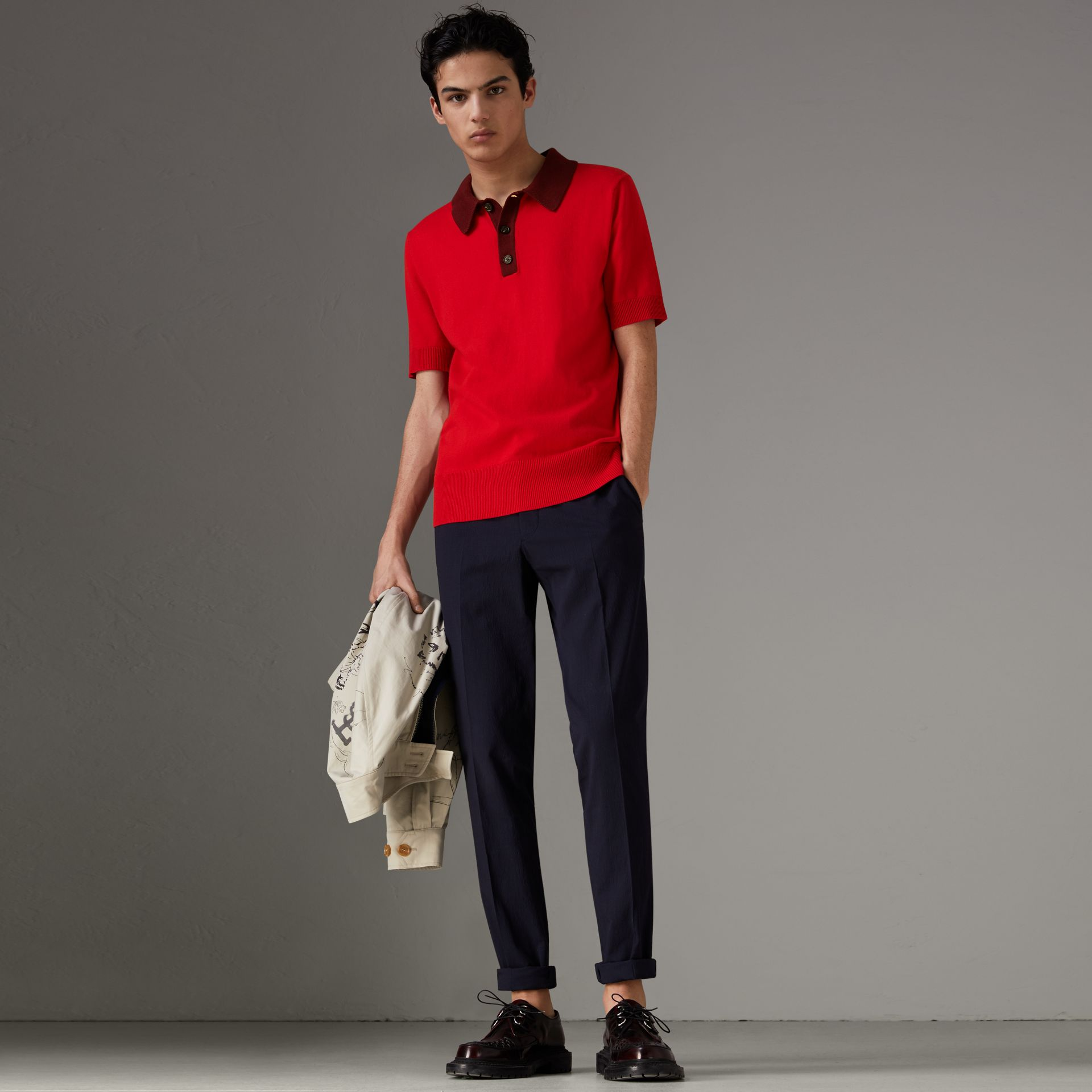 Two-tone Knitted Cotton Polo Shirt in Bright Red - Men | Burberry Australia - gallery image 0
