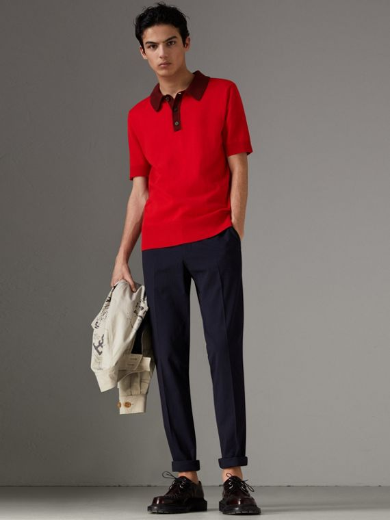 Two-tone Knitted Cotton Polo Shirt in Bright Red