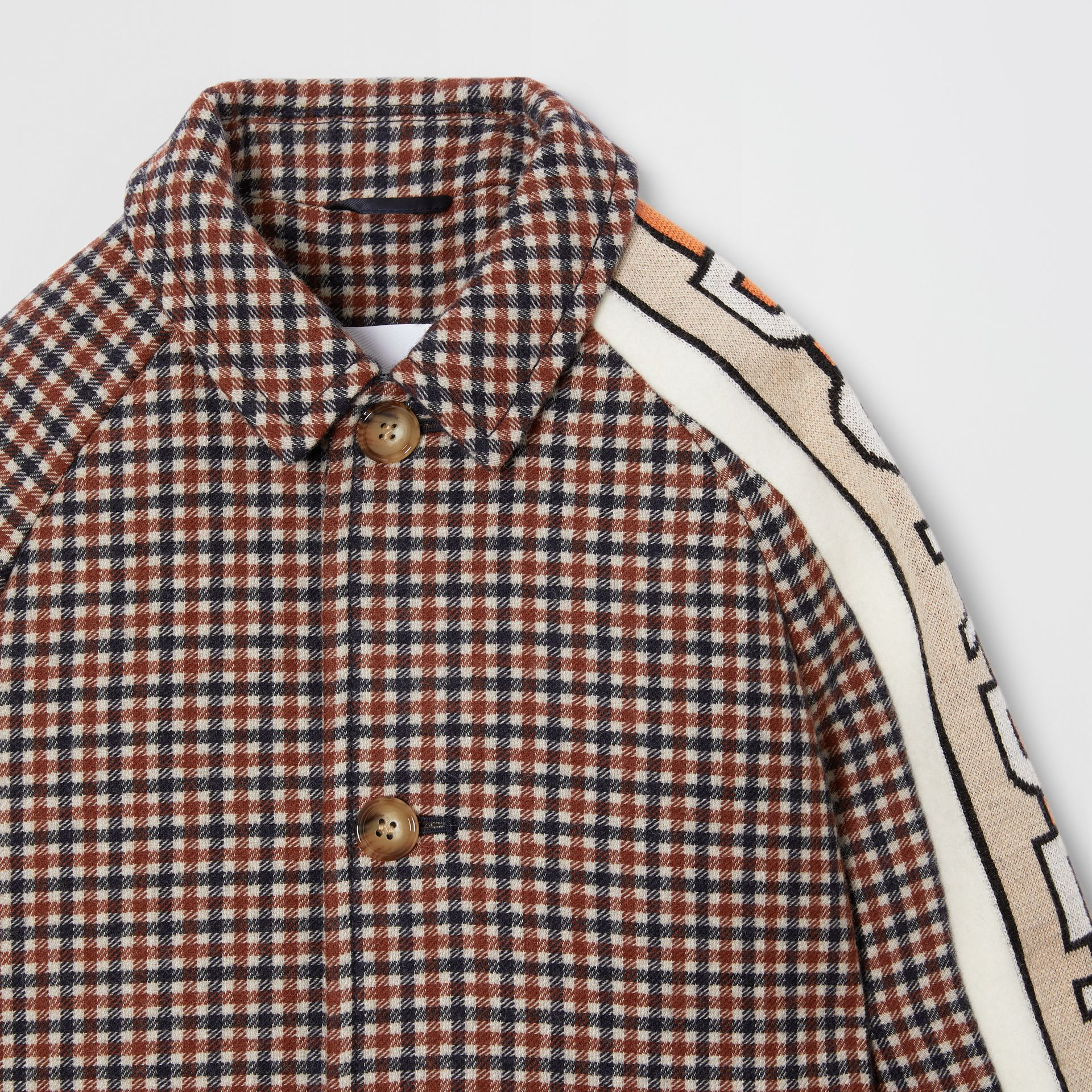 Logo Jacquard Check Wool Car Coat in Rust Brown | Burberry - gallery image 4