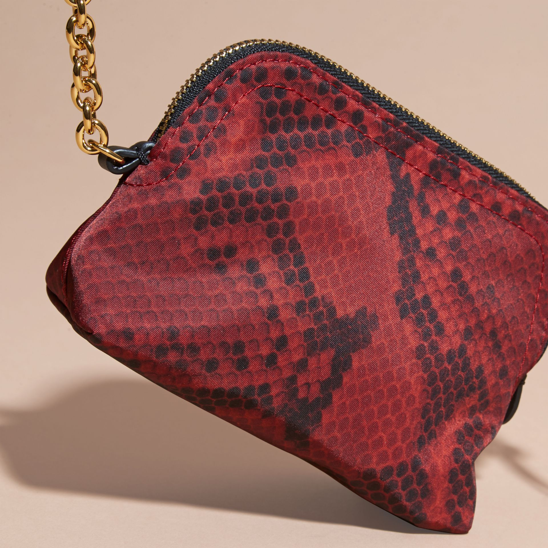 Small Zip-top Python-print Technical Nylon Pouch Burgundy Red - gallery image 3