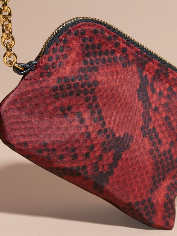 Burgundy red Small Zip-top Python-print Technical Nylon Pouch Burgundy Red - cell image 2