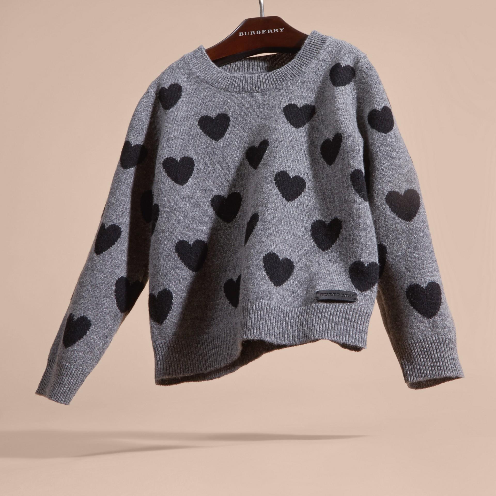 Preto Suéter de lã e cashmere com corações em ponto de tricô intársia - galeria de imagens 3