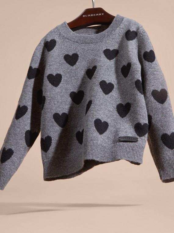 Preto Suéter de lã e cashmere com corações em ponto de tricô intársia - cell image 2