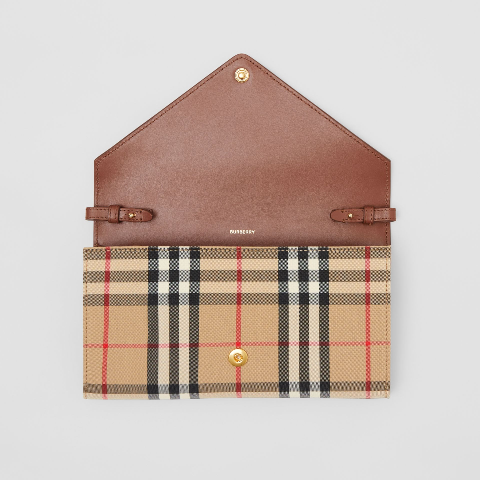 Vintage Check and Leather Wallet with Detachable Strap in Tan - Women | Burberry - gallery image 8