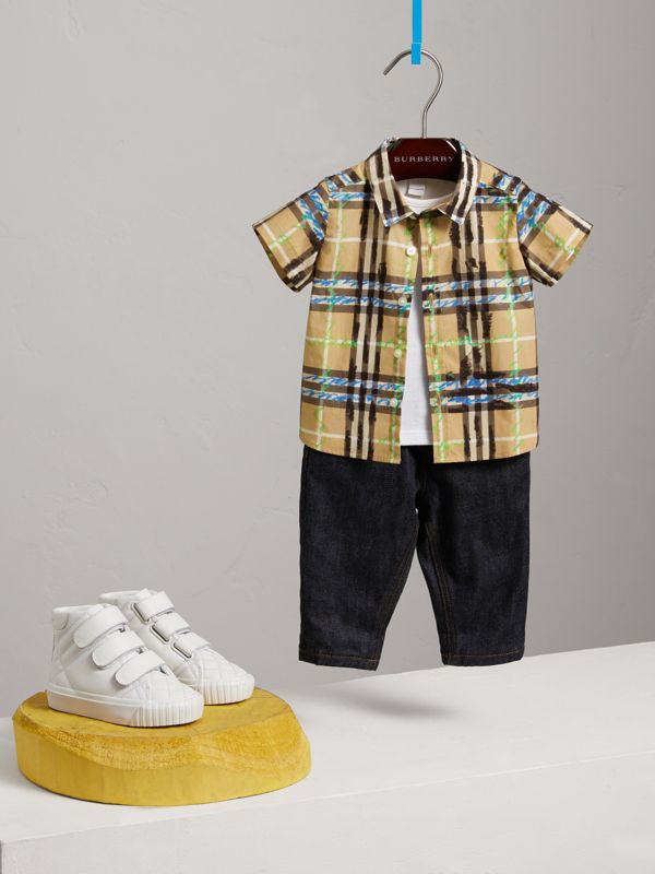Short-sleeve Scribble Check Cotton Shirt in Bright Blue - Children | Burberry United Kingdom - cell image 2