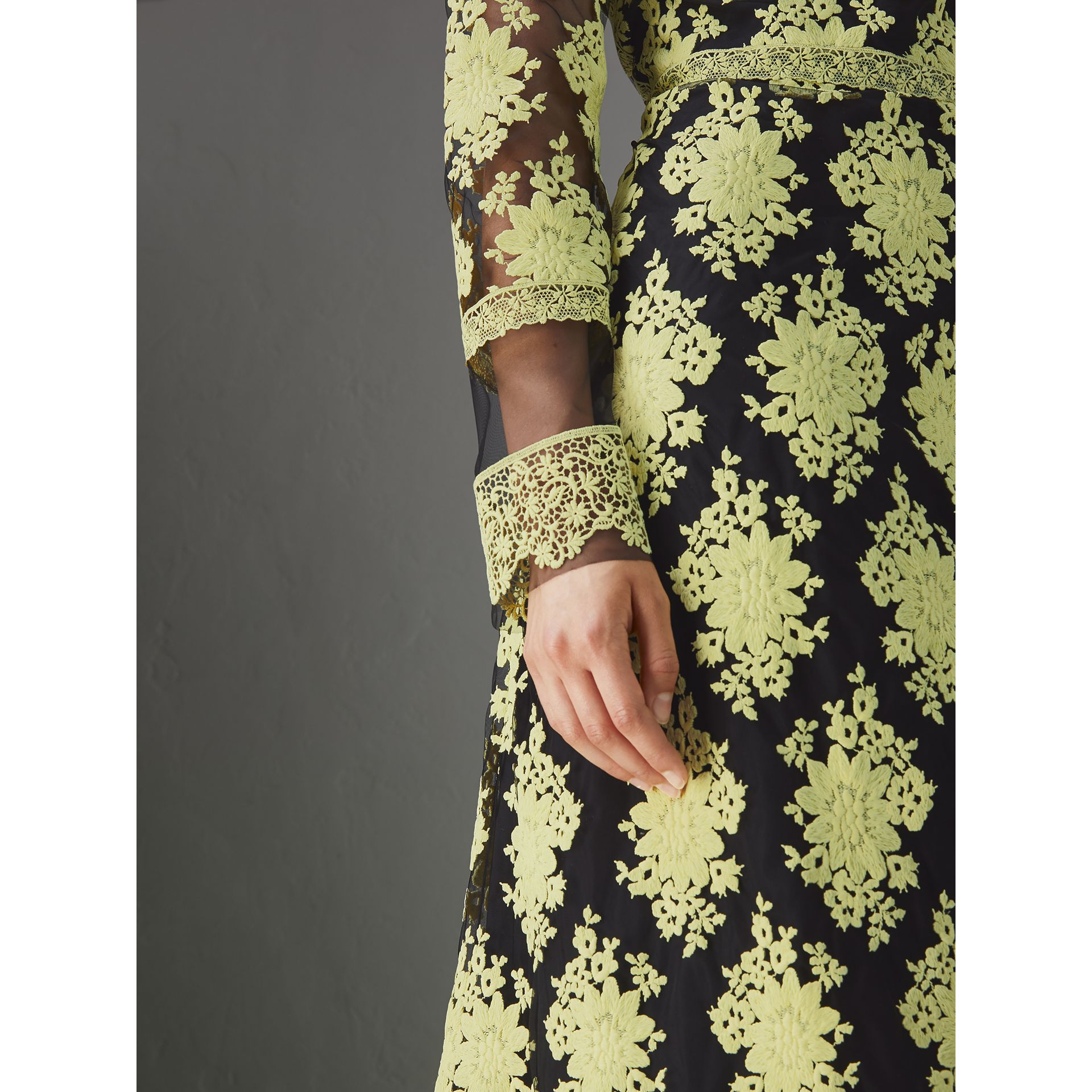 Floral-embroidered Long-sleeve Dress in Pale Camomile/black - Women | Burberry United Kingdom - gallery image 1