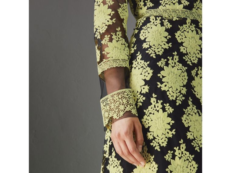 Floral-embroidered Long-sleeve Dress in Pale Camomile/black - Women | Burberry - cell image 1