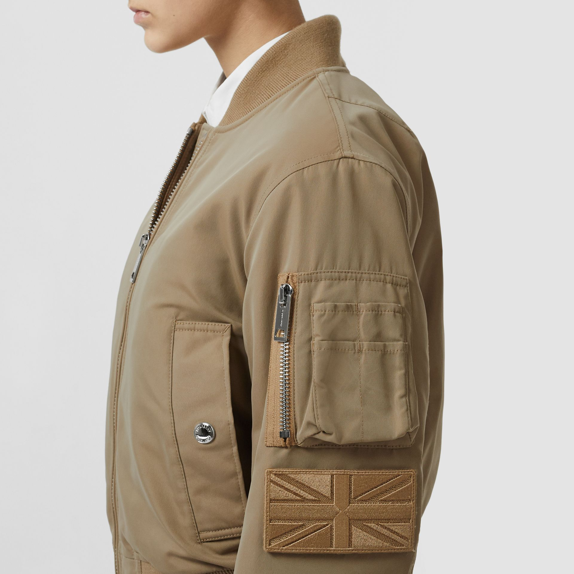 Union Jack Motif Nylon Bomber Jacket in Honey - Women | Burberry - gallery image 4