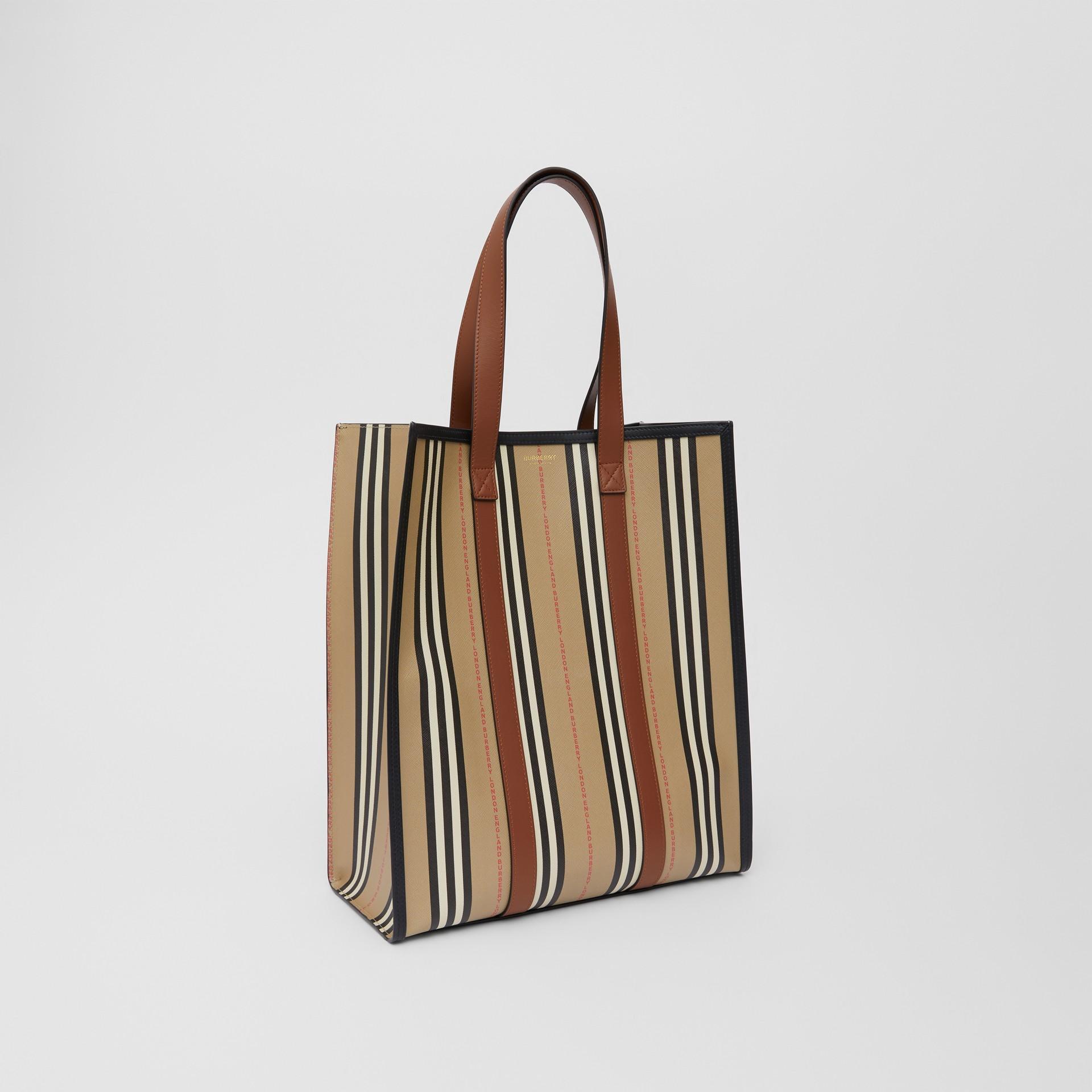 Logo and Stripe E-canvas Portrait Tote Bag in Tan/archive Beige - Women | Burberry - gallery image 6