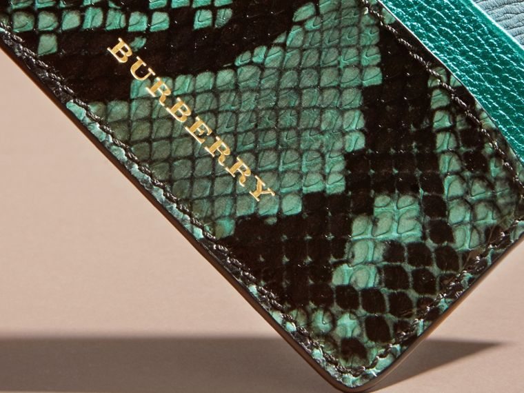 Light mint Colour Block Leather and Snakeskin Card Case Light Mint - cell image 1