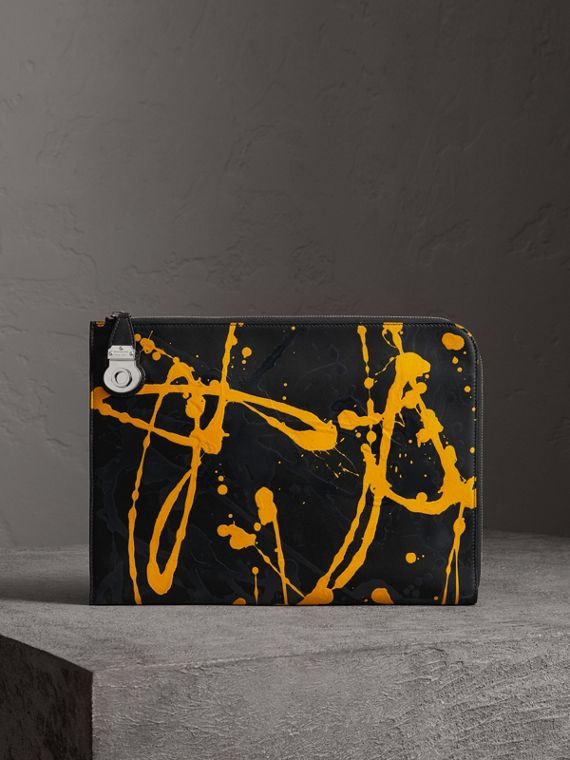 Porte-documents en cuir trench Splash (Noir/jaune)