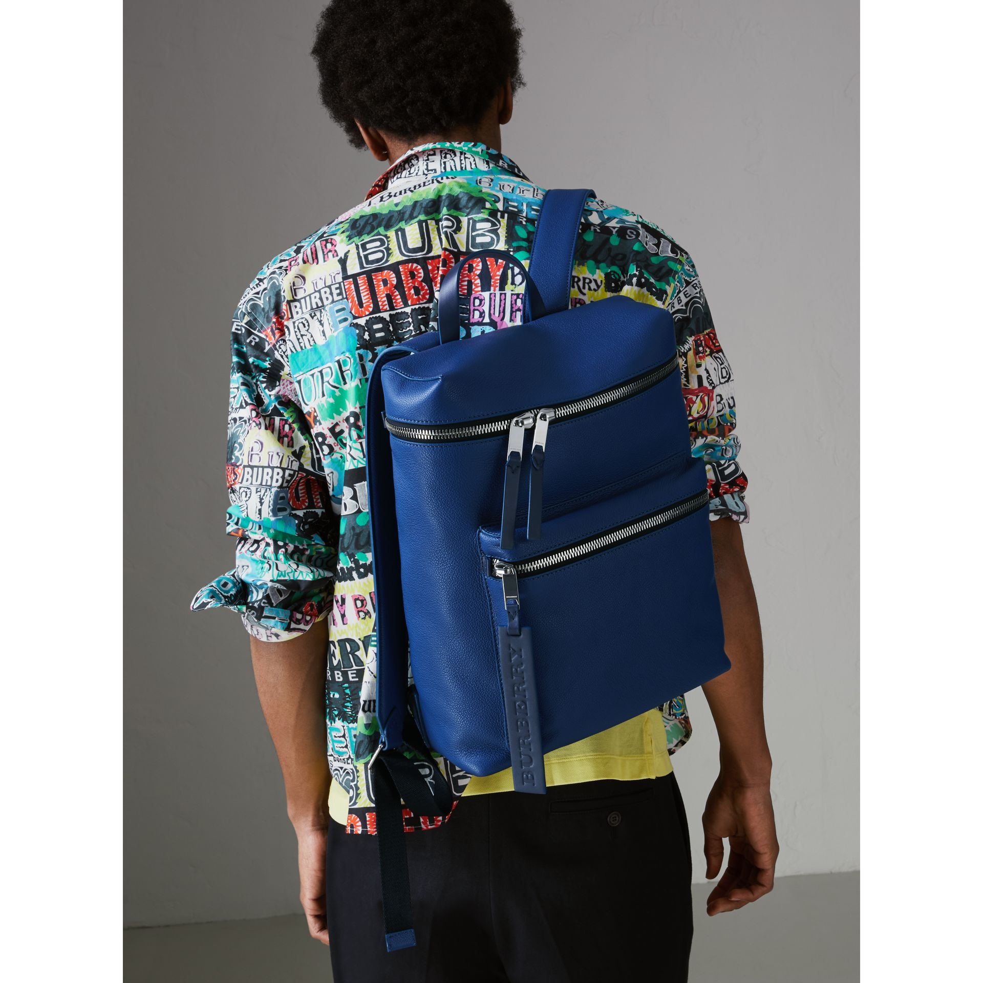 Zip-top Leather Backpack in Bright Ultramarine - Men | Burberry Australia - gallery image 3