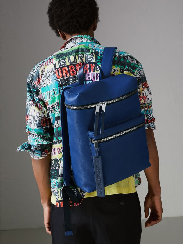 Zip-top Leather Backpack in Bright Ultramarine - Men | Burberry Australia - cell image 3