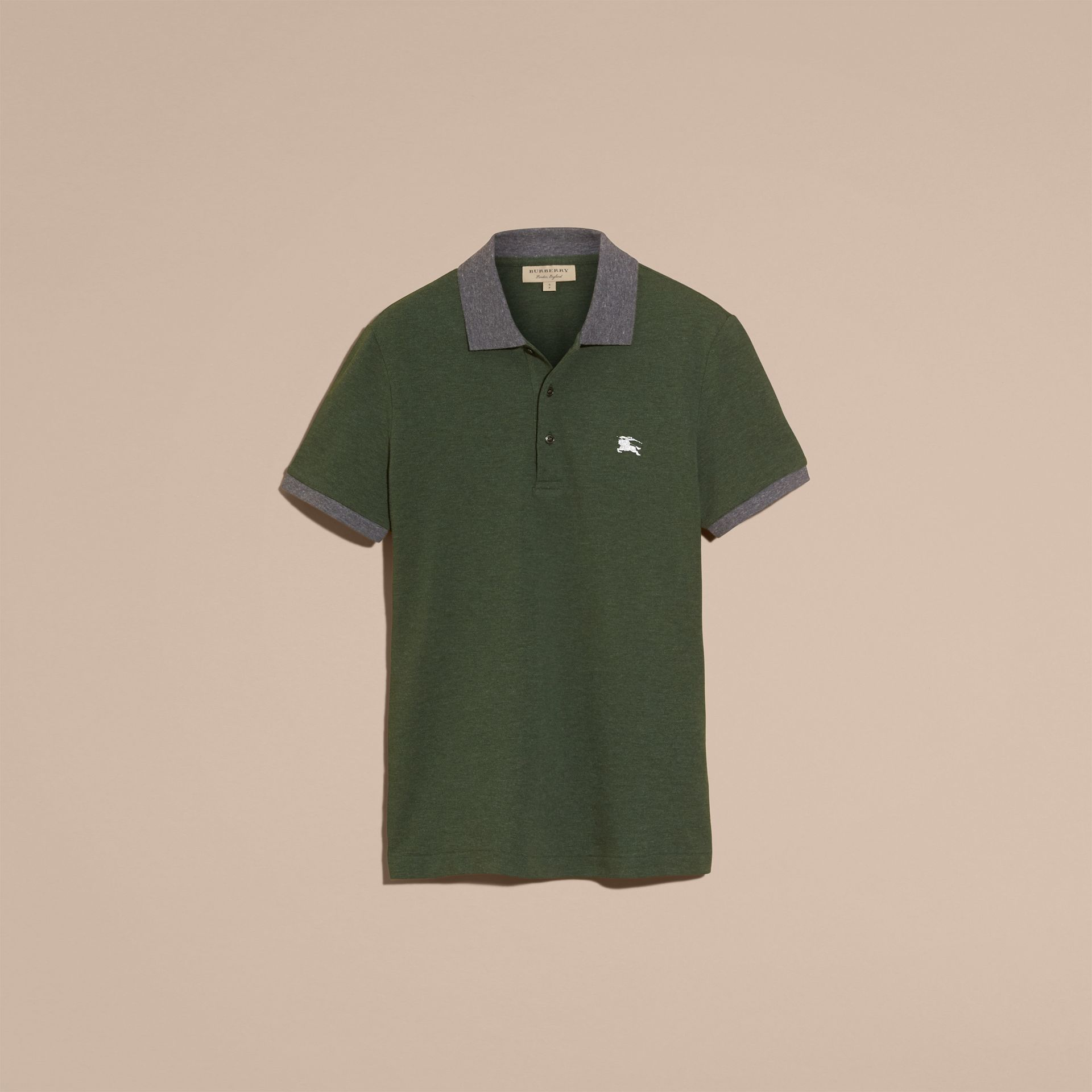 Racing green melange Contrast Colour Detail Cotton Piqué Polo Shirt Racing Green Melange - gallery image 4