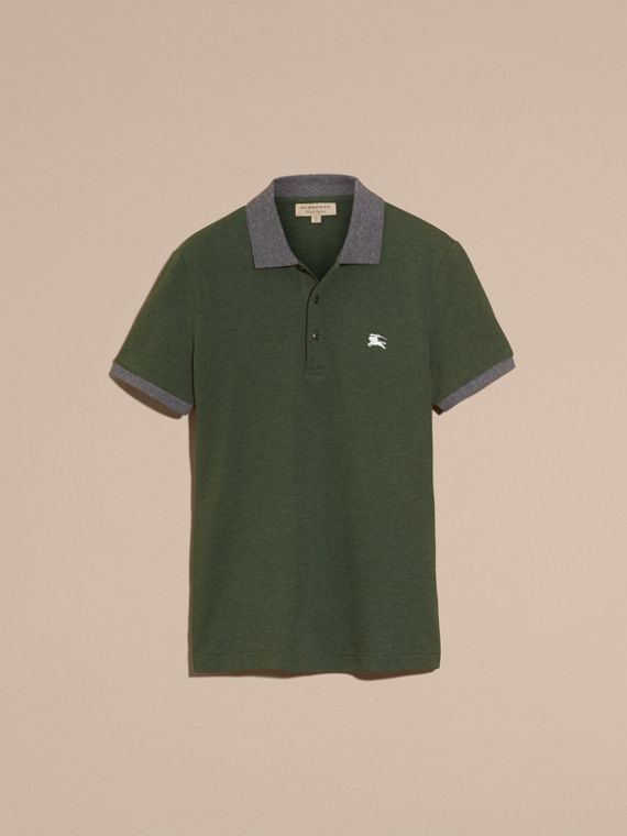 Racing green melange Contrast Colour Detail Cotton Piqué Polo Shirt Racing Green Melange - cell image 3