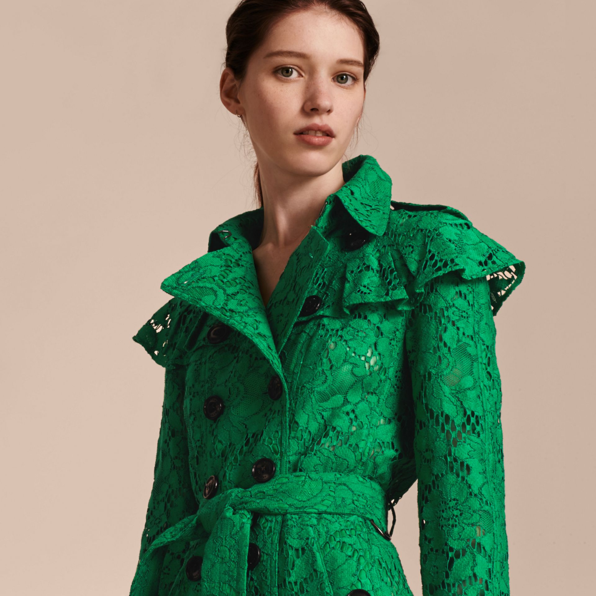 Ruffle Detail Macramé Lace Trench Coat Kelly Green - gallery image 6