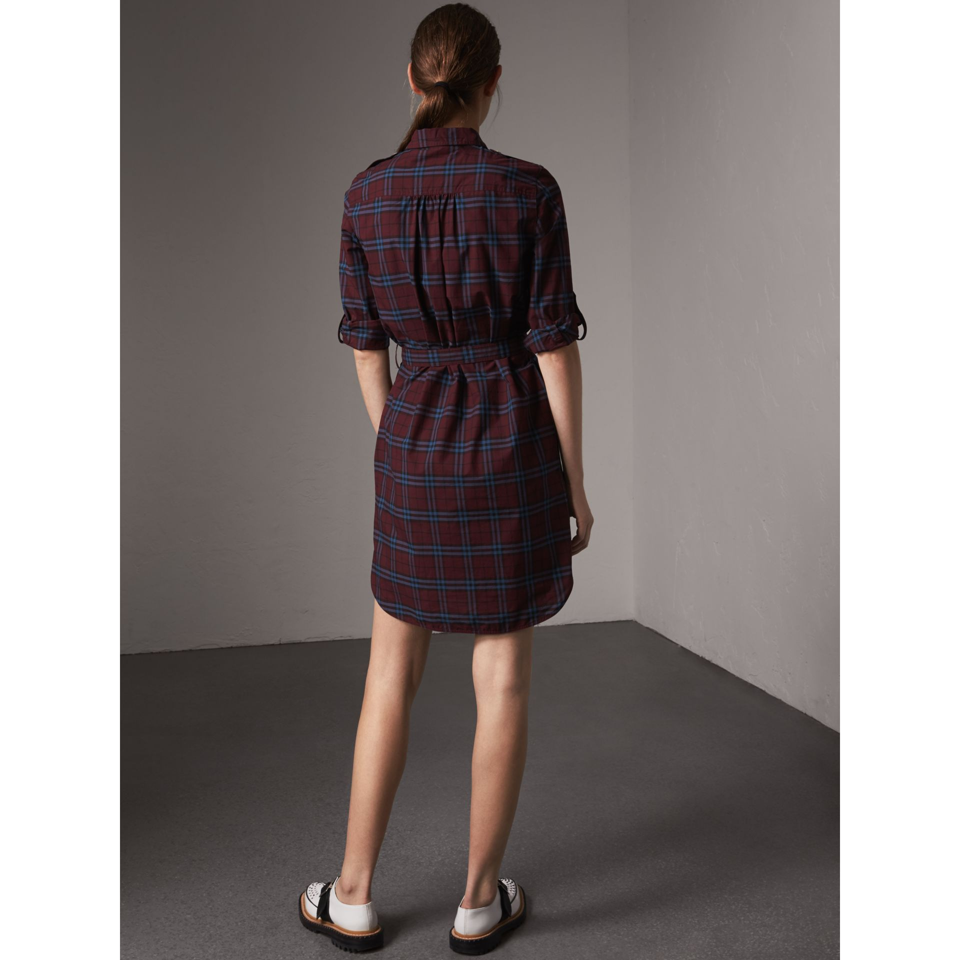 Check Cotton Tunic Dress in Crimson Red - Women | Burberry - gallery image 2