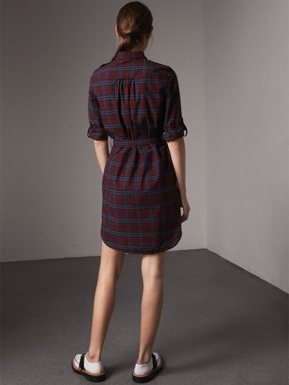 Check Cotton Tunic Dress in Crimson Red - Women | Burberry - cell image 2