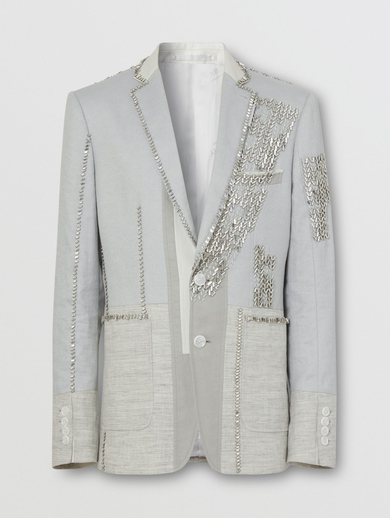 English Fit Crystal Embroidered Technical Linen Jacket in Light Pebble Grey