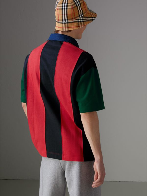 Reissued Striped Cotton Polo Shirt in Bright Red - Men | Burberry Australia - cell image 2