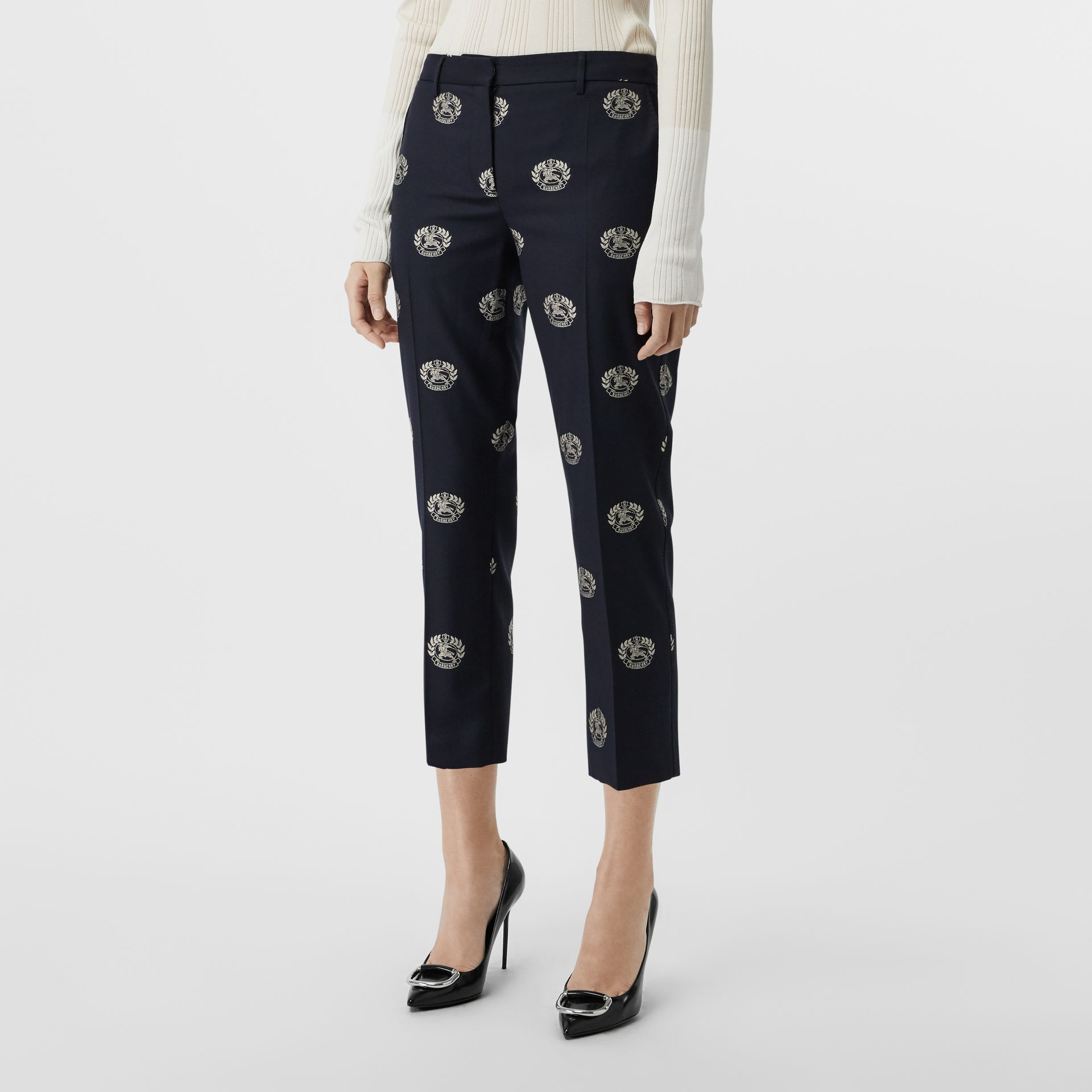 Crest Detail Wool Cropped Tailored Trousers in Midnight Blue - Women | Burberry - gallery image 4
